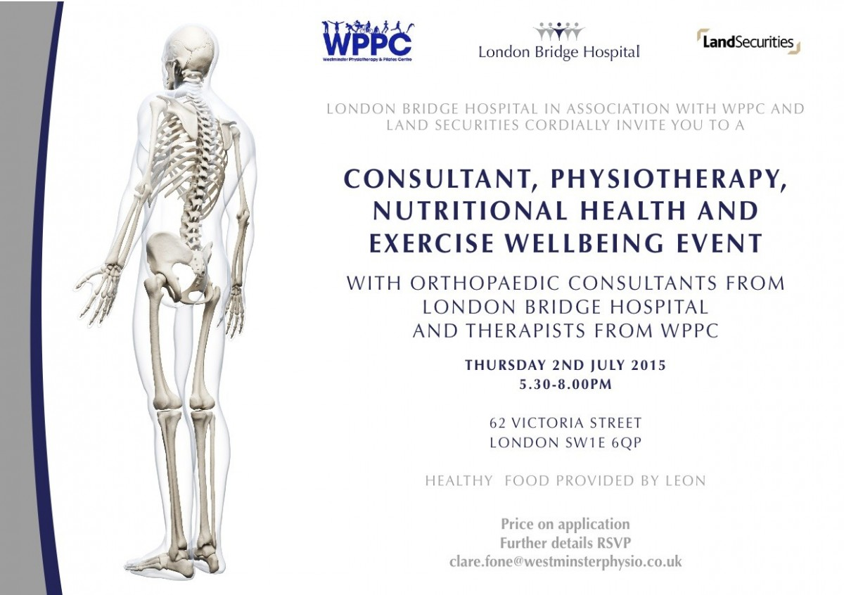 The westminster physiotherapy and pilates centre an invitation consultant physiotherapy nutritional health and exercise wellbeing event stopboris Gallery